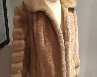 Circa 1970s Tissavel Cream Faux Fur Jacket-Approx Size 12-14-VGC