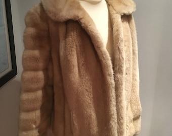 Circa 1970s Tissavel Cream Faux Fur Jacket-Approx Size 12-14-VGC