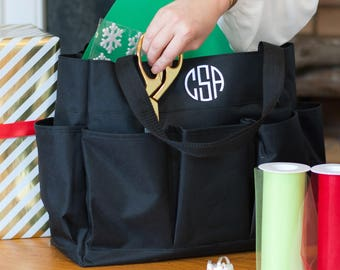 Personalized Black Carry All Tote Bag * Monogrammed Organizer Caddy Tote *  All Purpose Bags With