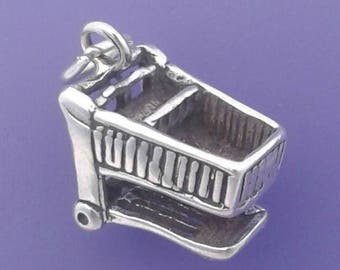 SHOPPING CART Charm .925 Sterling Silver Buggy, Grocery Shopping Pendant - lp1984