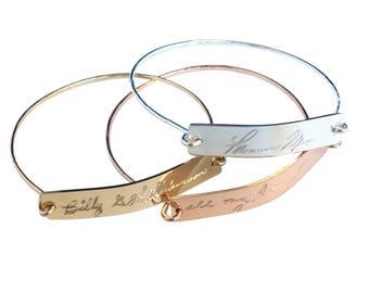 Actual Handwritten Bracelet  Custom Handwriting Bangle / Signature Bracelet / Personalized engraved bracelet / Memorial handwriting jewelry