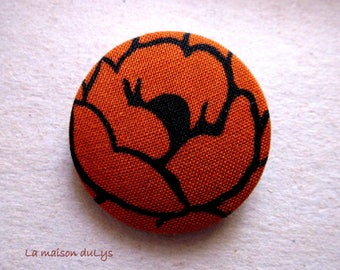 Button 36mm fabric covered orange and black, large vintage flower
