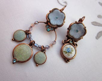 Asymmetrical romantic earrings, glass and porcelain copper backed cabochon flower