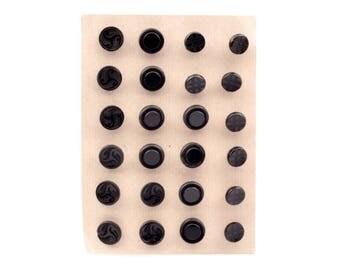 Card (24) Czech Art Deco 1920's vintage black geometric triskelion glass buttons 1453-114