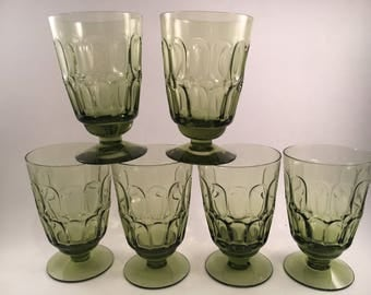 Vintage Fostoria - Fostoria - Set of 6 - Green Fostoria Glassware - Vintage Iced Tea Glasses - Vintage Water Glasses - Vintage Barware - Bar