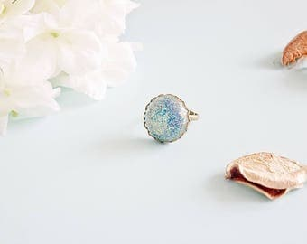 "Cabochon resin ring glitter ""PinPail"""