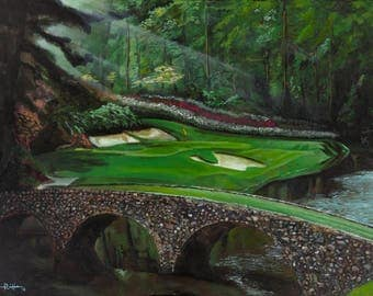 """Golf Painting - """"Amen"""" - 11"""" x 14"""" - Augusta - The Masters Print of Original Painting"""