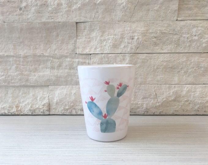 Watercolor Prickly Pear Cactus Shot Glass