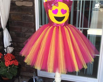 Heart eyes emoji. An Expression of LOVE!!! Share the love! emoji birthday party. Any color!Choose any emoji face you want on the dress!!