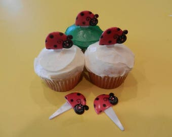 12 Cute Ladybug Cupcake Picks Toppers Party Favors Lady Bug