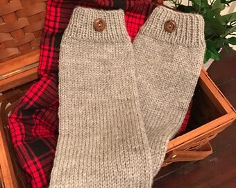 Light gray leg warmers, HAND KNIT womens leg warmers, boot socks, womens boot cuffs, knit socks, boot warmers, boot toppers, boot liners