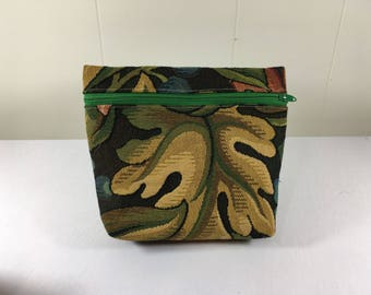 Zipper Pouch Bag, Unlined, Earthy Floral, made from Upcycled Upholstery Fabric Samples