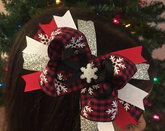 Christmas Plaid and Snowflake Hair Bow