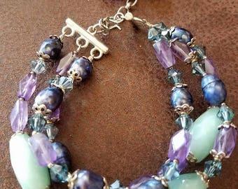 Amozonite, amethyst, and pearl 3 strand bracelet