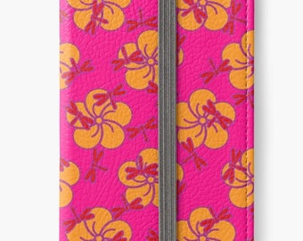 Folio Wallet Case for iPhone 8 Plus, iPhone 8, iPhone 7, iPhone 6 Plus, iPhone SE, iPhone 6, iPhone 5s -  Hot pink & orange floral case