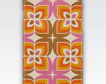 Case for iPhone 8, iPhone 6s,  iPhone 6 Plus,  iPhone 5s,  iPhone SE,  iPhone 5c, iPhone 7,  Retro Pink, Orange & Brown Geometric Pattern