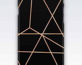 Case for iPhone 8, iPhone 6s,  iPhone 6 Plus,  iPhone 5s,  iPhone SE,  iPhone 5c,  iPhone 7 - Black & Rose Gold Geometric Design Case