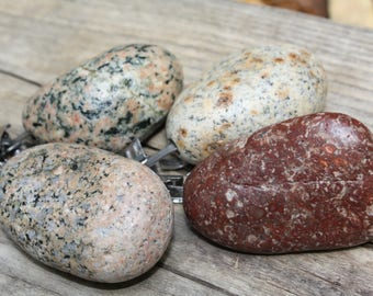 Tablecloth weights, Lake Superior rock tablecloth weights, flag weights, stone picnic tablecloth holders, raw stone accents, cabin decor