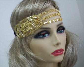 Great Gatsby headpiece, Flapper headband, 1920s headband, Roaring 20s, Gold sequin headband, 1920s hair accessory, Vintage inspired