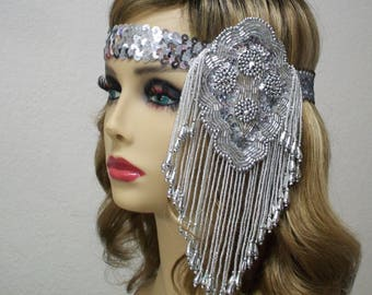 1920s Headband, Flapper Headband, Flapper Headpiece, Roaring 20s, Sequin Headband, Art Deco Headband, Silver Headband, 1920s Hair Accessory