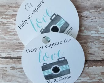 Help Us Capture the Love tags, disposable camera tags, wedding camera tags, bridal shower tag, baby shower tag, fun camera (C24)