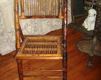 Antique Bamboo Folding Chair / Vintage Rattan Chair /
