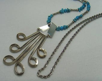 Turquoise Waterfall Necklace, Hammered Stainless Steel Removable Pendant with Spiral Rope Chain or Magnesite Beads,Many Looks in 1