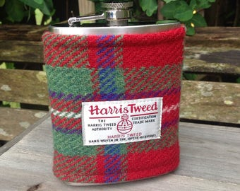 Harris tweed 8oz hip flask in red checked Mackinnon tweed best man groomsmen wedding father stag gift