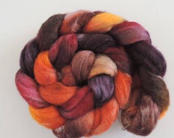 Finn Silk,Oak and Alder, top, handpainted fiber for spinning, 120g