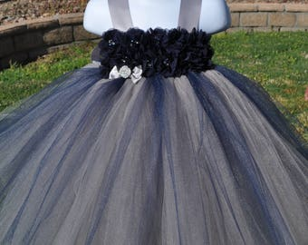 Gray Navy Flower Girl Dress, Infant Gray Navy Tulle Dress, Toddler Navy Gray Dress,Baby Grey Navy Special Occasion Dress