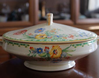 Art Deco 1940's Grindley Lidded Dish ~ Made in England