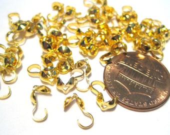 Gold Tone Bead Tip Knot Cover ClamShell Bead Tips