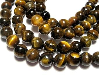 1 Strand Natural Tiger Eye 8mm Round Stone Beads Grade AB