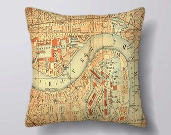 Vintage London Map  - Cushion Cover Case Or Stuffed With Insert
