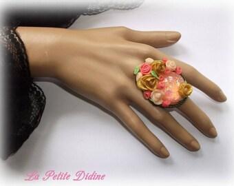 Romantic ring, shabby chic ring, porcelain flower ring, flower jewelry, shabby chic jewelry, romantic ring, valentine gift