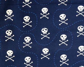 Fabric - jersey fabric - Navy skull print cotton/elastane knit