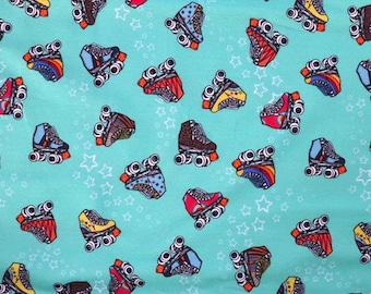 Fabric - Cotton/elastane French terry - Retro skates - turquoise - knit