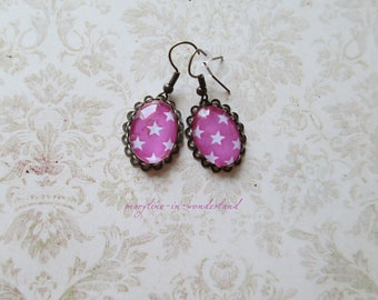Earrings cabochon pink stars