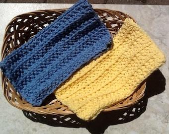 Cotton knit dishcloths, rib knit dishcloths, blue and yellow dishcloths, bridal shower gift, baby shower gift,  set of 2