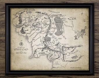 Lord Of The Rings Wall Art - Middle Earth Map - Lord Of The Rings Fantasy Map - Mordor - Gondor - Hobbit - Gandalf #2535 - INSTANT DOWNLOAD