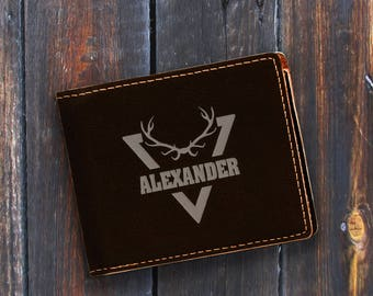 Personalized Engraved Bifold Wallet - Personalized Hunting-Full Size Art Work-Black Wallet-Engraves Silver-Personalized Point
