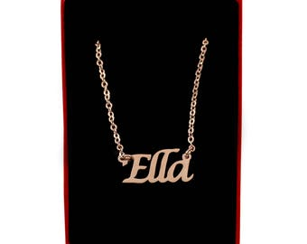 Ella Name Necklace Stainless Steel/ 18ct Rose Gold Plated | Christmas Present