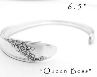 "Spoon Cuff Bracelet Silverware Jewelry, Spoon Handle Cuff Bracelet  6.5"" Wrist Only, Gifts For Her Gifts Under 25 Queen Bess Iced Tea Spoon"