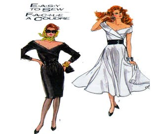 Simplicity 8491, Women Dress, Sewing Pattern, Off Shoulder, Fitted Bodice, Pencil Skirt, Full Circle Skirt, Shawl Collar, Sleeveless, Size 6
