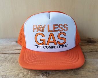 Vintage 80s PAY LESS GAS Orange Mesh Trucker Hat 'The Competition' Snapback Baseball Cap Gasoline Station Canadian Petroliana Retro Ballcap