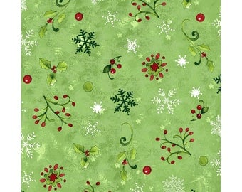 Believe in the Season Snowflakes - Olive 2166-24 by Clothworks Cotton Fabric Yardage