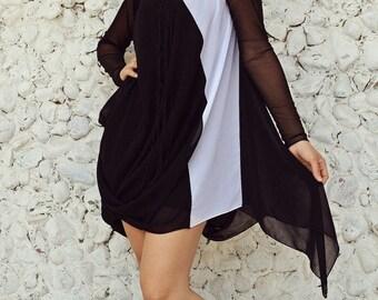 SUN SALE 25% OFF Black and White Funky Dress / Elegant Short Summer Dress / Black and White Asymmetrical Dress / Asymmetrical Summer Dress T