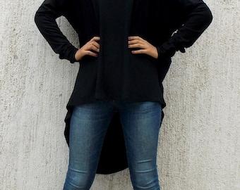 ON SALE Plus Size Black Asymmetrical Tunic / Extravagant Waterfall Drape Tunic Top TT28
