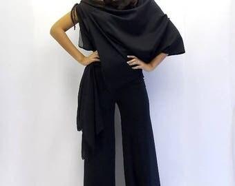 ON SALE Black Jumpsuit, Black Asymmetric Jumpsuit, Plus Size Jumpsuit TJ01 by Teyxo