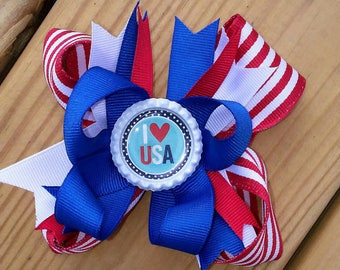 Independence Day Stacked Hair Bow